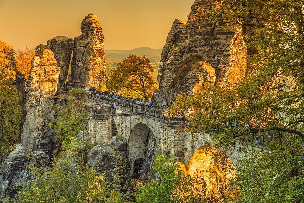 Bastei Bridge at sunset, Elbsandstein Mountains, Saxony Switzerland National Park, Saxony, Germany - 1160-4004