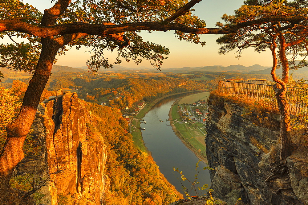 View from Bastei Rock Formation to Elbe River, Elbsandstein Mountains, Saxony Switzerland National Park, Saxony, Germany