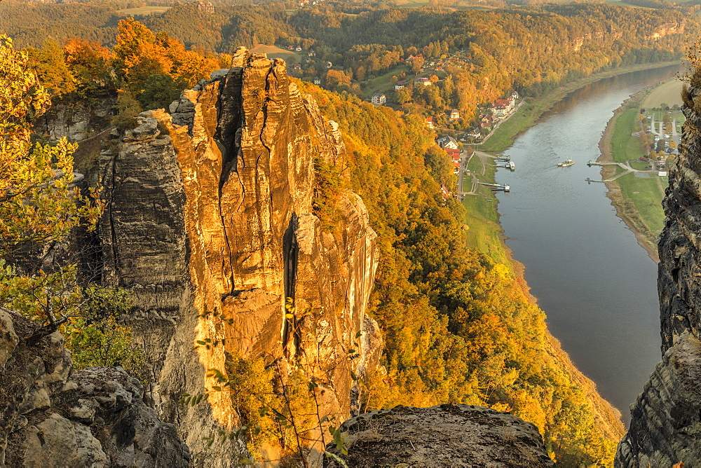View from Bastei Rock Formation to Elbe River, Rathen, Elbsandstein Mountains, Saxony Switzerland National Park, Saxony, Germany