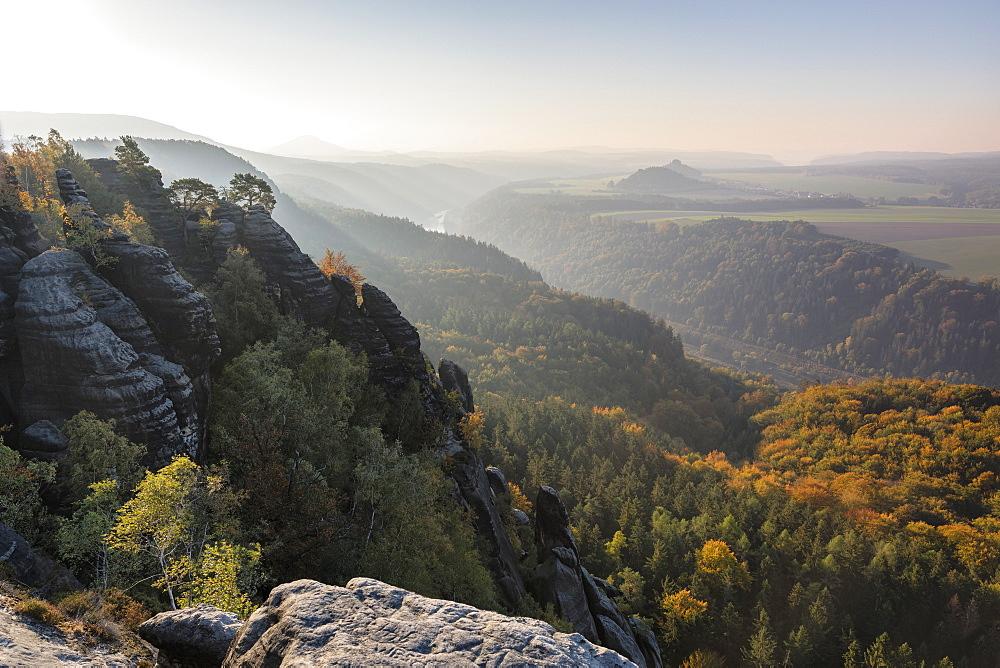 View from Schrammsteine Rocks to Elbtal Valley, Elbsandstein Mountains, Saxony Switzerland National Park, Saxony, Germany - 1160-4021