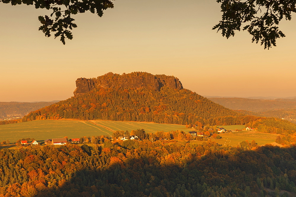 Lilienstein mountain at sunset in Saxony, Germany, Europe