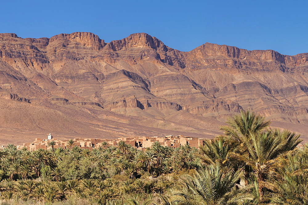 View over Draa Valley to Tamnougalt, Atlas Mountains, Morocco, North Africa, Africa
