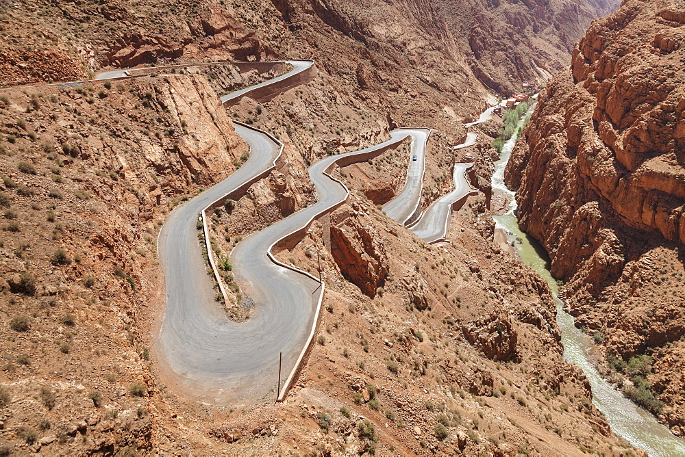 Road, Dades Gorge, Atlas Mountains, Southern Morocco, Morocco, Africa