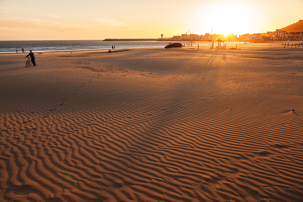 Beach of Agadir at sunset, Morocco, North Africa, Africa