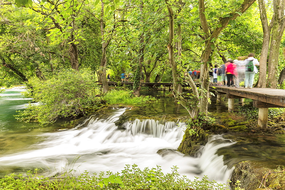Group of tourists, Krka National Park, UNESCO World Natural Heritage, Dalmatia, Croatia
