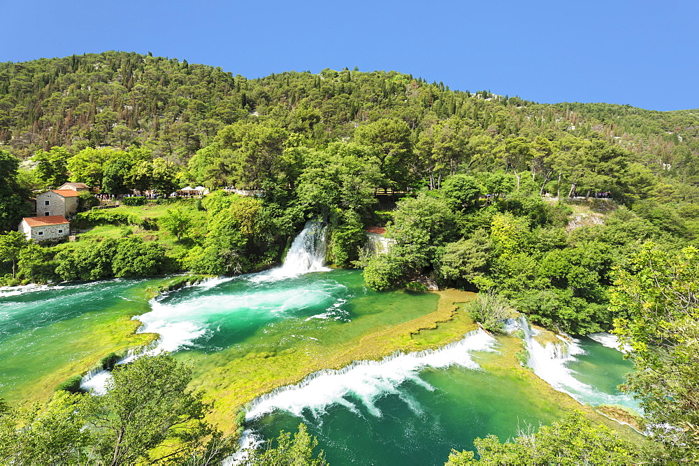 Mill at Skradinski Buk Waterfalls, Krka National Park, Dalmatia, Croatia, Europe