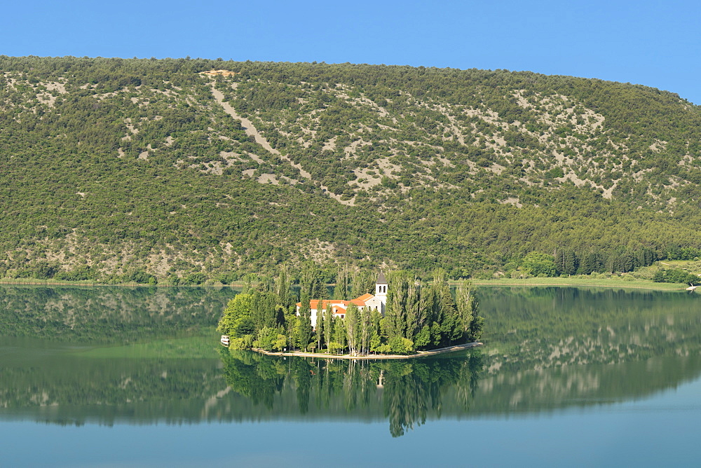 Visovac Monastery on Visovac Island, Krka National Park, Dalmatia, Croatia, Europe