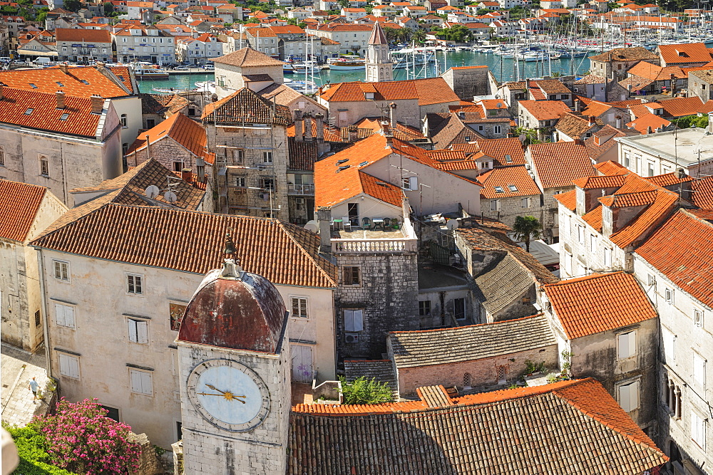 View from St. Laurentius Cathedral across the Old Town, Trogir, UNESCO World Heritage Site, Dalmatia, Croatia, Europe - 1160-4157