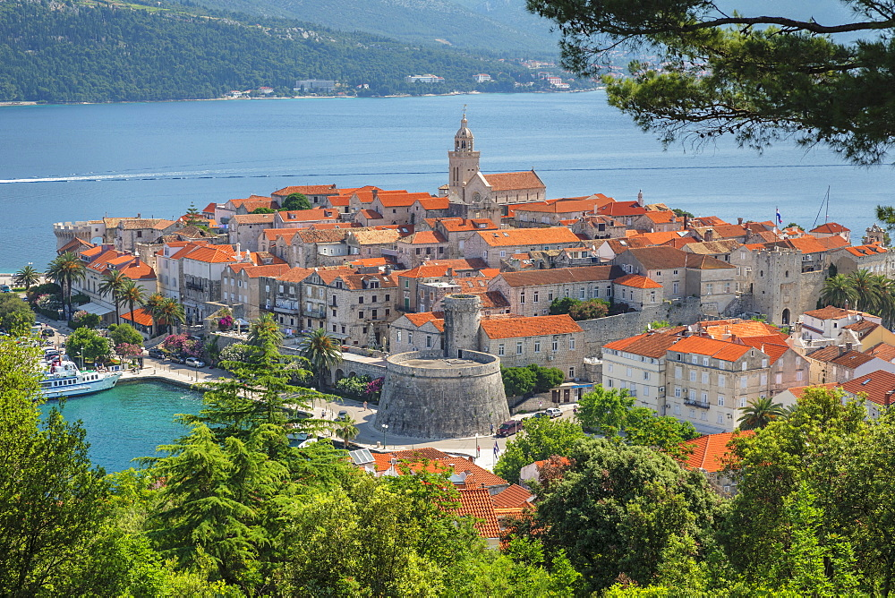 View over the Old Town of Korcula, Island of Korcula, Dalmatia, Croatia, Europe