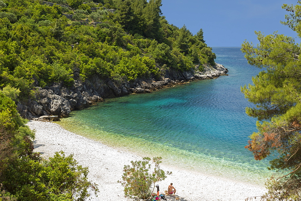 Vaja Beach, near Racisce, Island of Korcula, Adriatic Sea, Island of Korcula, Dalmatia, Croatia, Europe - 1160-4161