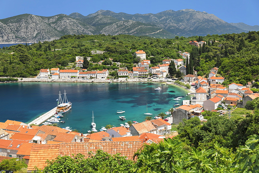 View over Rasisce, Island of Korcula, Adriatic Sea, Dalmatia, Croatia, Europe