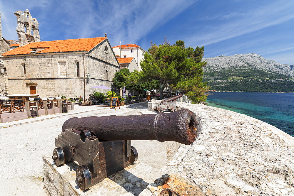 Old Cannons, Old Town of Korcula, Island of Korcula, Adriatic Sea, Dalmatia, Croatia, Europe - 1160-4165