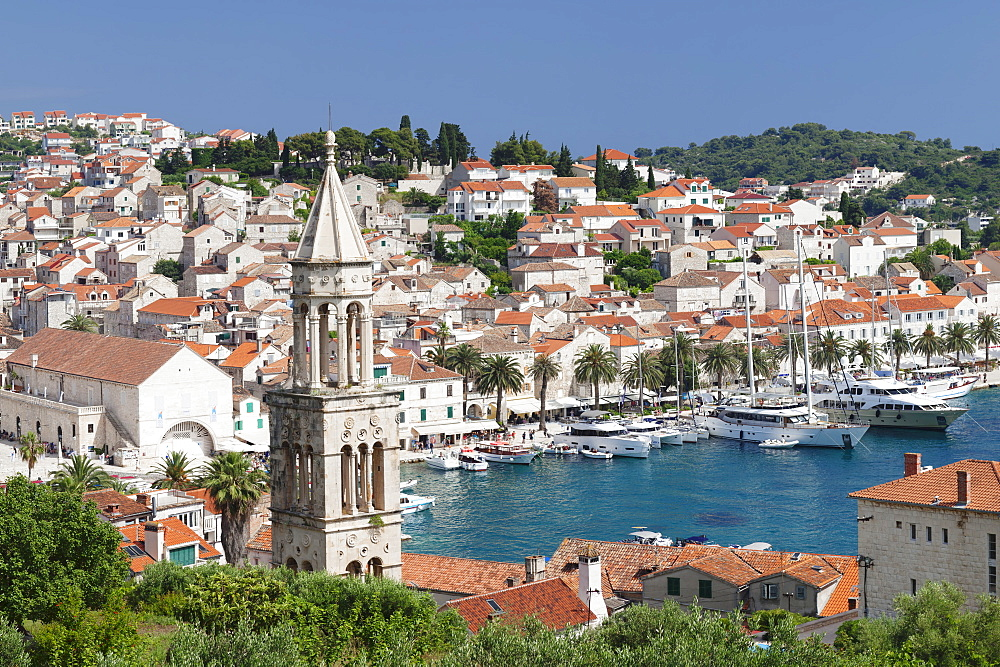 View from Sveti Marko Church to Arsenal and promenade at the port, Hvar, Hvar Island, Dalmatia, Croatia, Europe - 1160-4181