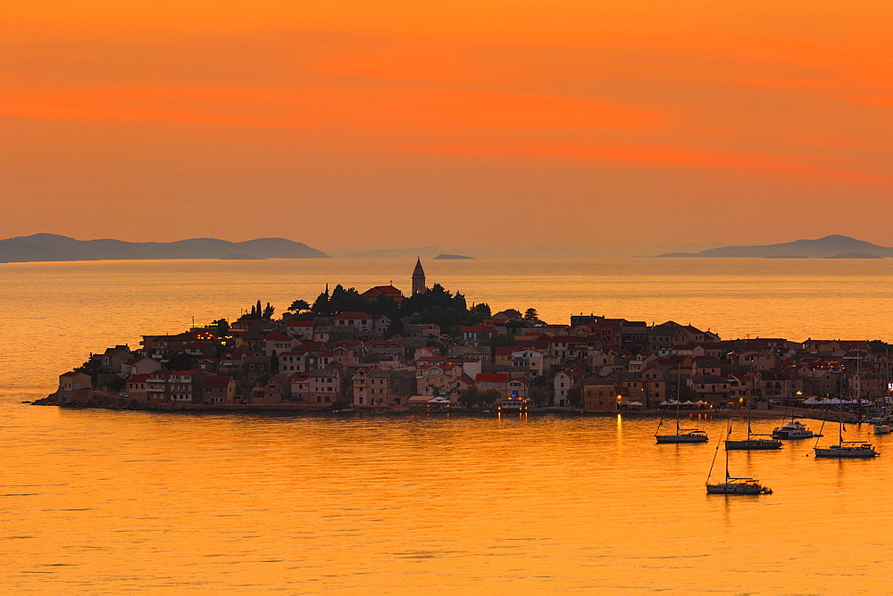 Primosten at sunset, Adriatic Coast, Dalmatia, Croatia, Europe - 1160-4186