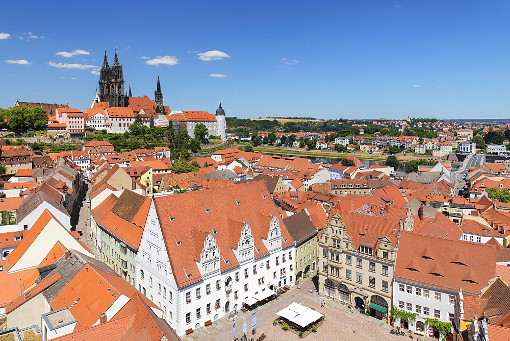 View over market square with townhall to Cathedral and Albrechtsburg Castle, Meissen, Saxony, Germany, Europe