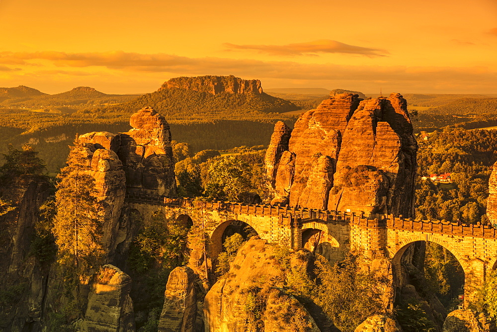 Bastei Bridge at sunrise, Elbsandstein Mountains, Saxony Switzerland National Park, Saxony, Germany