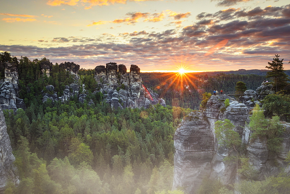 Bastei Rocks at sunrise, Elbsandstein Mountains, Saxony Switzerland National Park, Saxony, Germany
