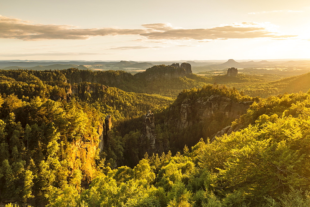 View over Carolafelsen Rocks at sunset, Elbsandstein Mountains, Saxony Switzerland National Park, Saxony, Germany