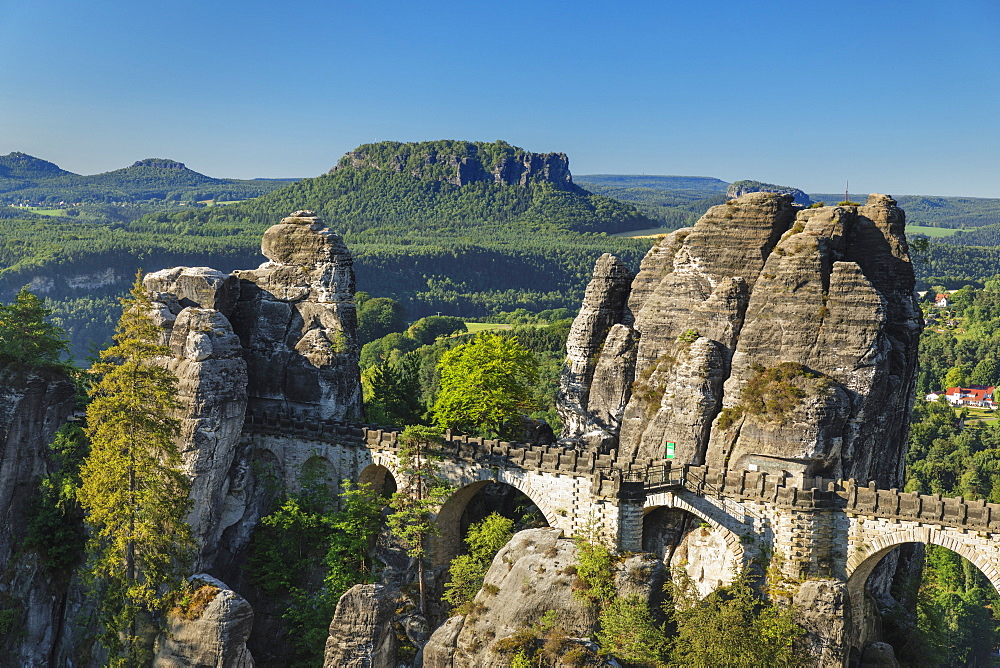 View from Bastei Bridge to Lilienstein Mountain, Elbsandstein Mountains, Saxony, Germany