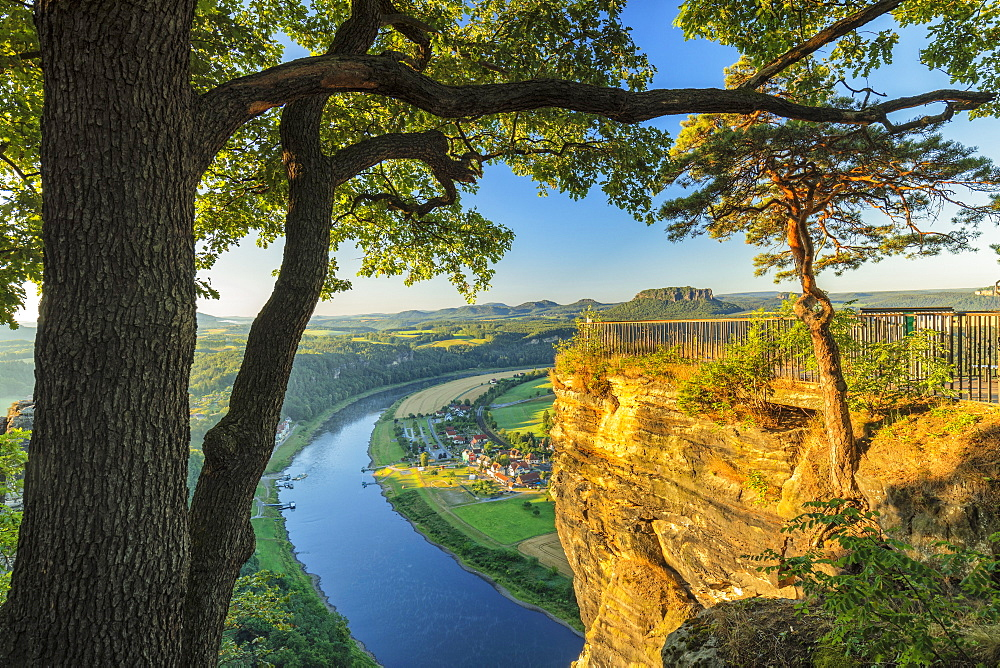 View from Bastei Rocks to Elbe River at sunrise, Elbsandstein Mountains, Saxony Switzerland National Park, Saxony, Germany