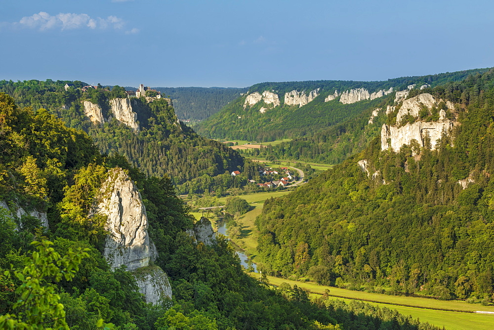 View from Eichfelsen rock to Werenwag castle, Upper Danube Valley, Swabian Jura, Baden-Wuerttemberg, Germany