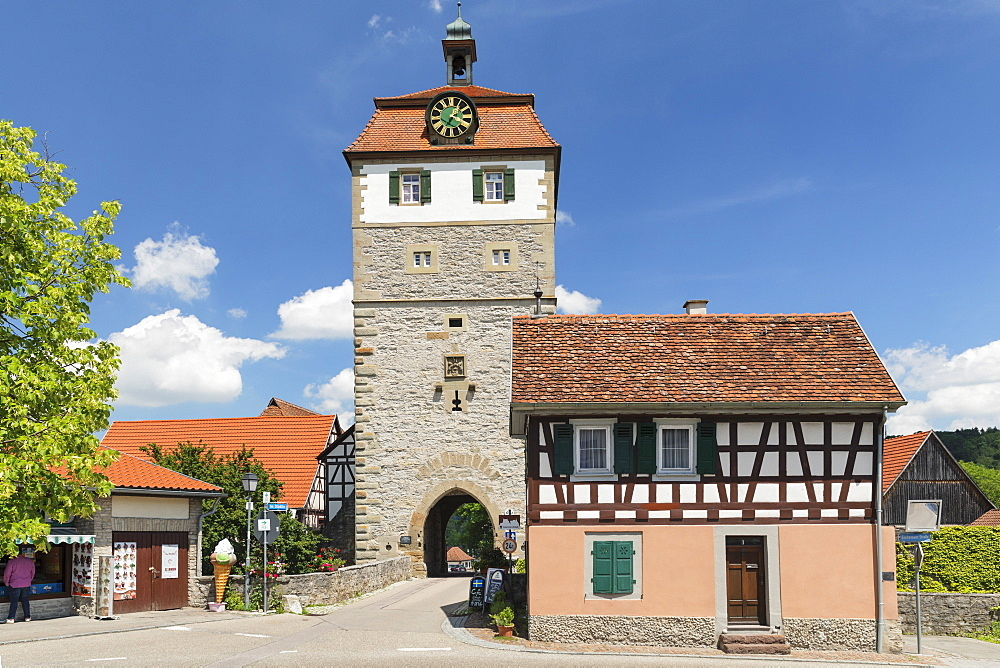 Torturm Tower at the town wall, Vellberg, Hohenlohe, Baden-Wuerttemberg, Germany