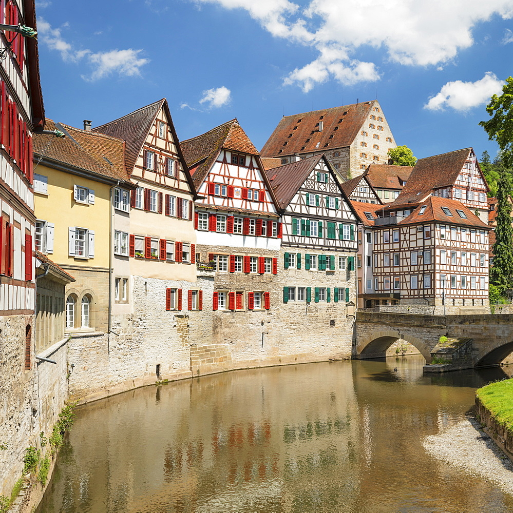 Half timbered houses in the old town, Schwaebisch Hall, Hohenlohe, Baden-Wurttemberg, Germany, Europe