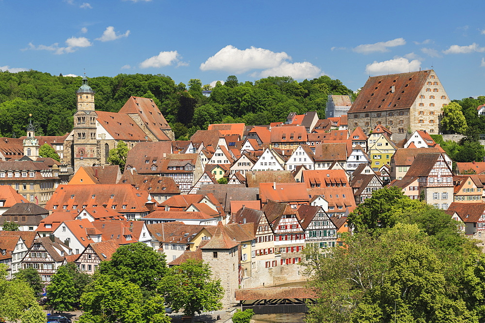 Old town with Sankt Michael church, Schwaebisch Hall, Hohenlohe, Baden-Wurttemberg, Germany, Europe