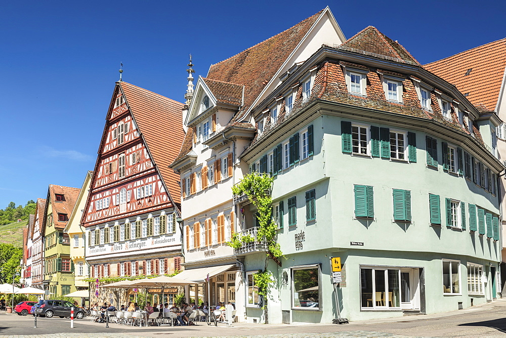 Cafe and Kielmeyer House at market place, Esslingen, Baden-Wurttemberg, Germany, Europe