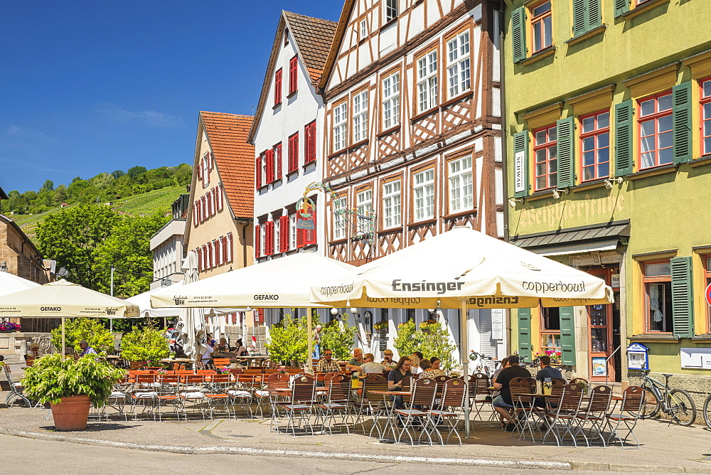 Restaurants and street cafes at market place, Esslingen, Baden-Wurttemberg, Germany, Europe
