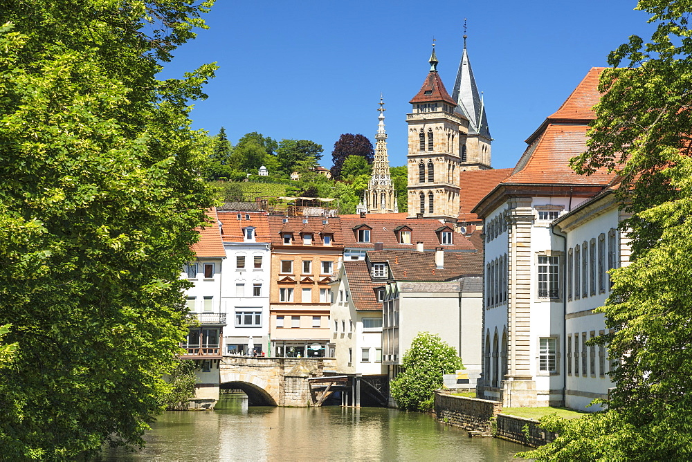Rossneckarkanal chanel with St. Dionys church, Esslingen, Baden-Wuerttemberg, Germany