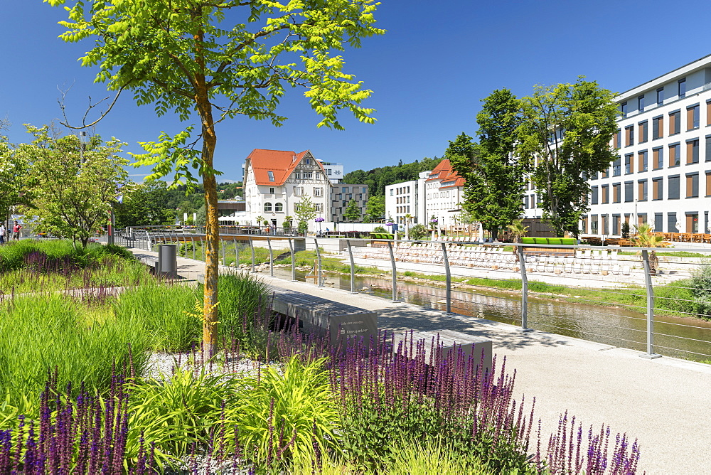 Promenade at Rems river, view to Villa Hirzel, Schwaebisch-Gmuend, Baden-Wuerttemberg, Germany