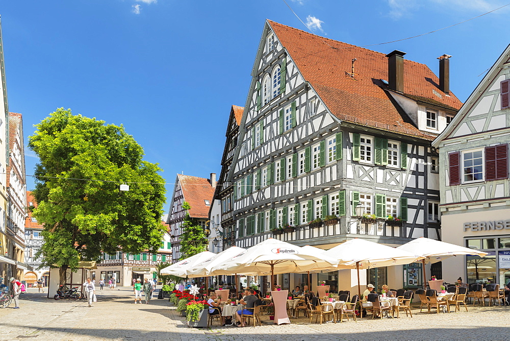 Street cafes and restaurants in pedestrian area, Schorndorf, Schorndorf, Baden-Wurttemberg, Germany, Europe