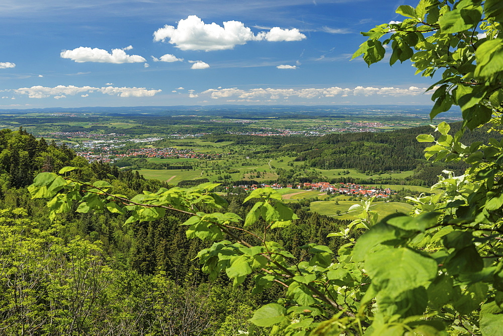 View from Schalksburg castle to Balinger mountains, near Balingen, Swabian Jura, Baden-Wuerttemberg, Germany