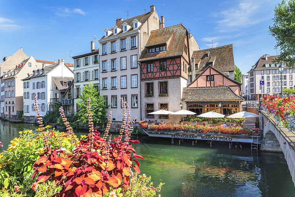 Restaurant at River Ill, La Petite France, UNESCO World Heritage Site, Strasbourg, Alsace, France