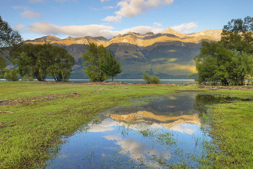 Glenorchy Lagoon at sunrise, Glenorchy, Otago, South Island, New Zealand, Pacific