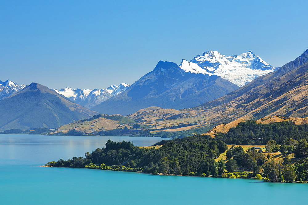 Lake Wakatipu and snowcapped Mount Earnslaw, Queenstown, Otago, South Island, New Zealand, Pacific - 1160-4363
