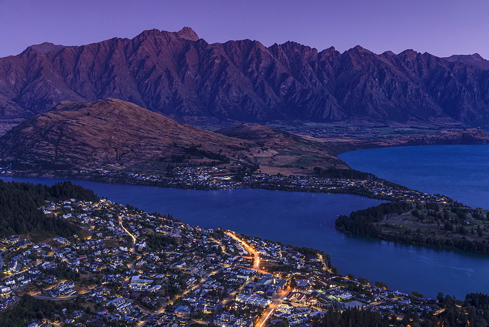View over Queenstown and Lake Wakatipu to The Remarkables Mountains, Otago, South Island, New Zealand, Pacific