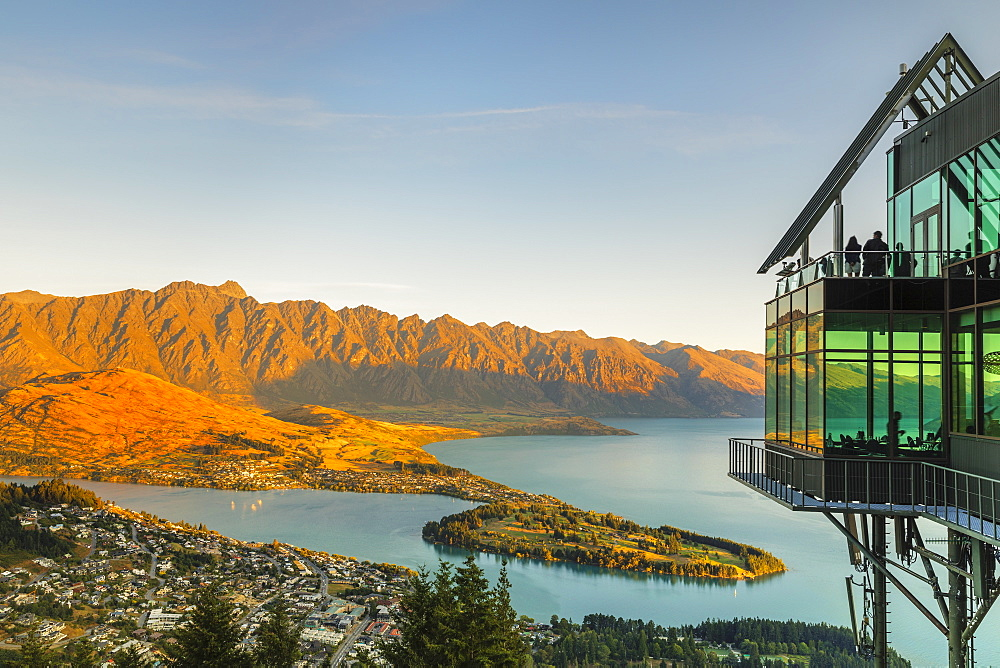 View over Queenstown and Lake Wakatipu from Skyline Queenstown Bar and Restaurant, Otago, South Island, New Zealand, Pacific