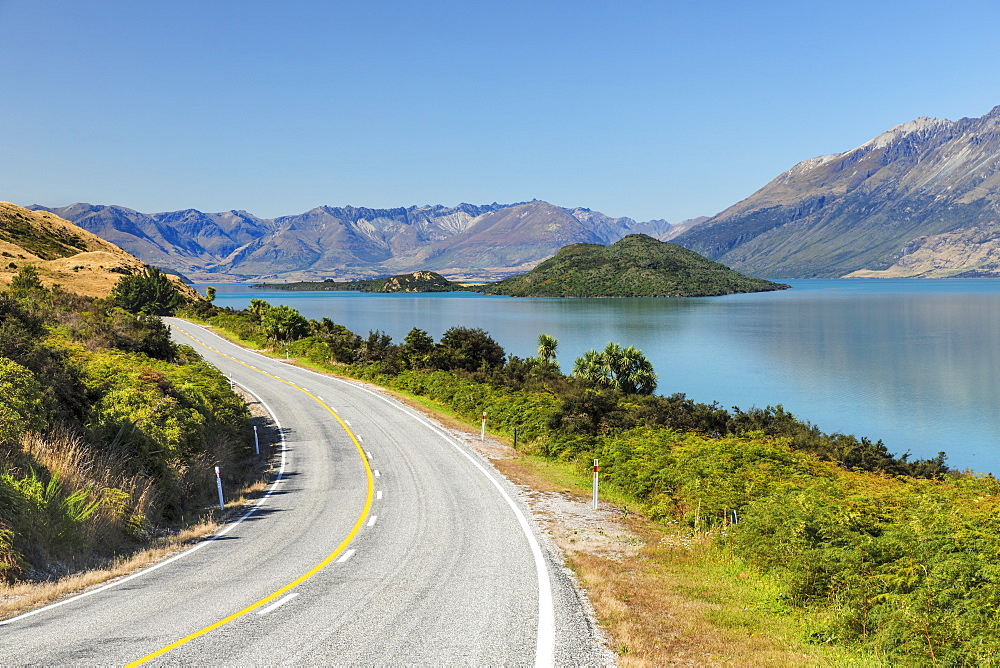 Road along Lake Wakatipu, Queenstown, Otago, South Island, New Zealand, Pacific