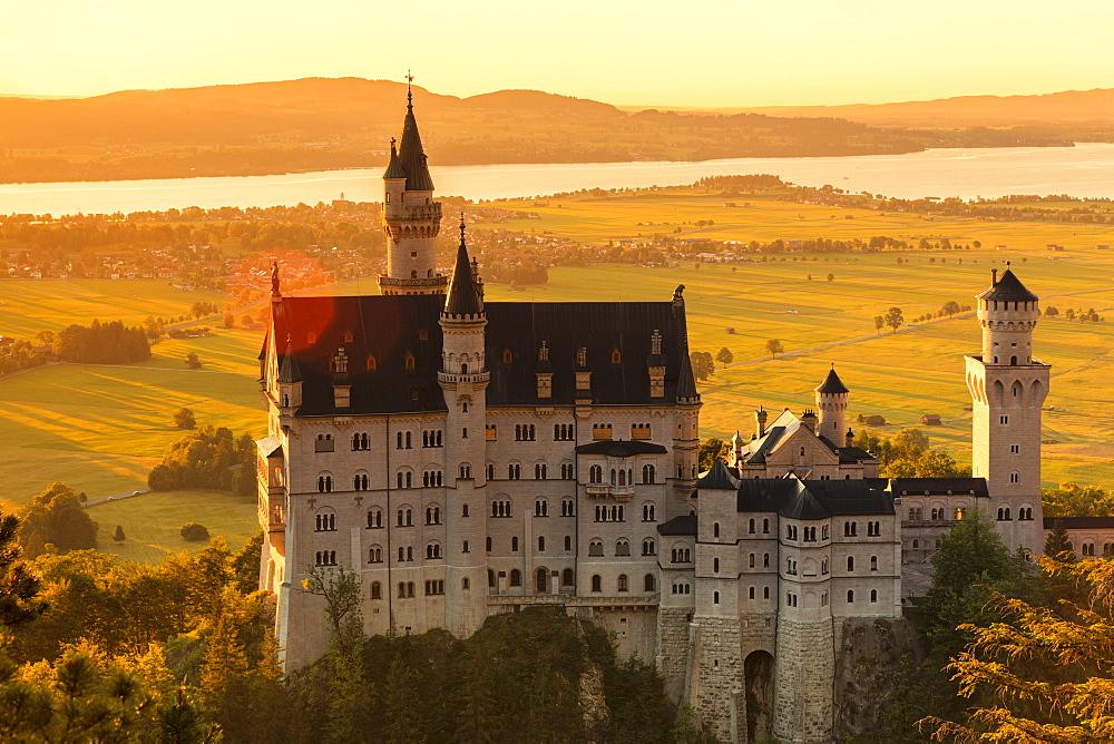 Neuschwanstein Castle at sunset, view to Forggensee Lake, Schwangau, Allgau, Schwaben, Bavaria, Germany, Europe