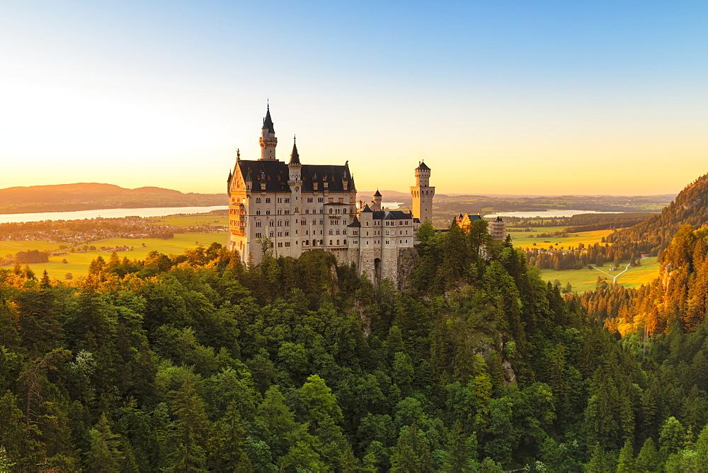 Neuschwanstein Castle at sunset, view to Forggensee Lake, Schwangau, Allgau, Schwaben, Bavaria, Germany, Europe - 1160-4401