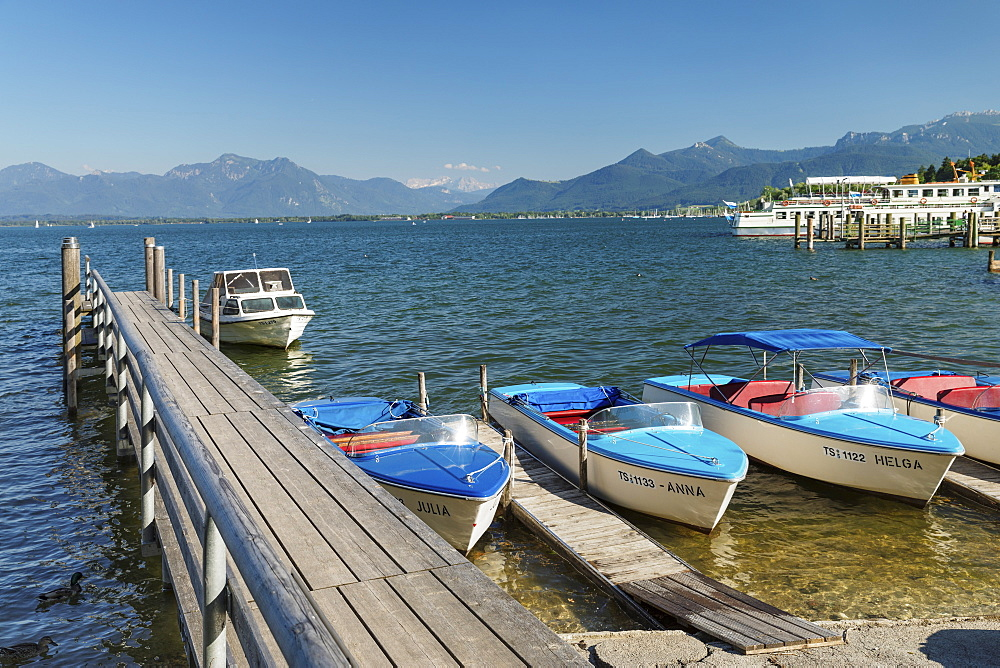 Boats at the harbour of Prien am Chiemsee, Lake Chiemsee, Upper Bavaria, Germany, Europe