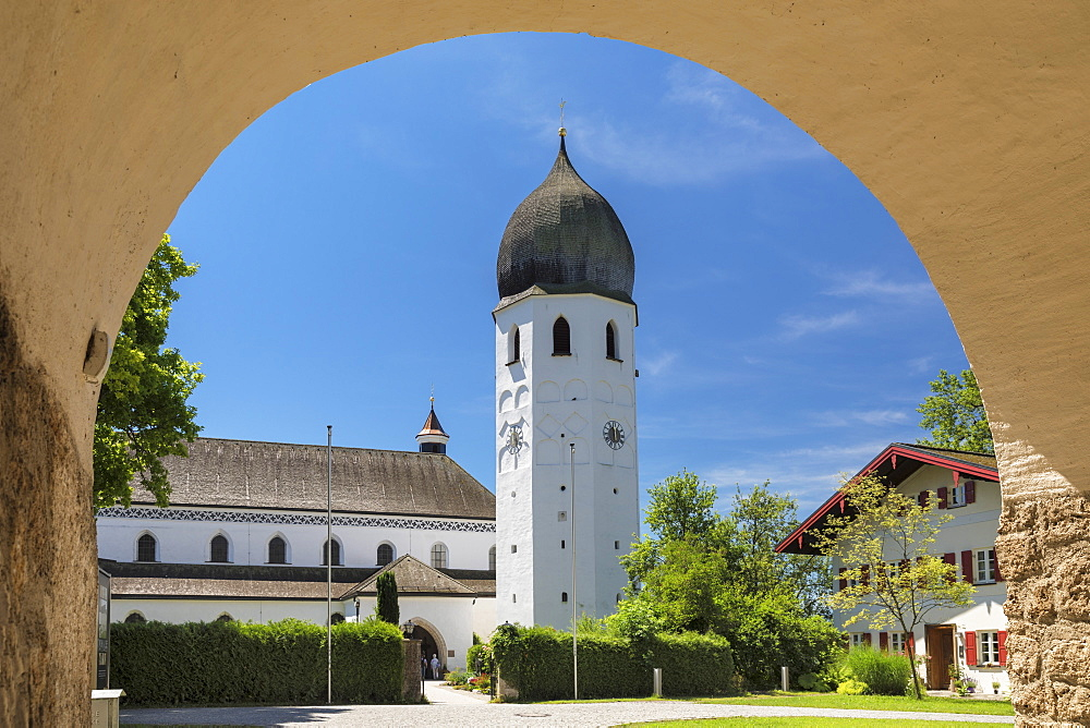Frauenwoerth Monastery, Fraueninsel Island, Lake Chiemsee, Upper Bavaria, Germany, Europe