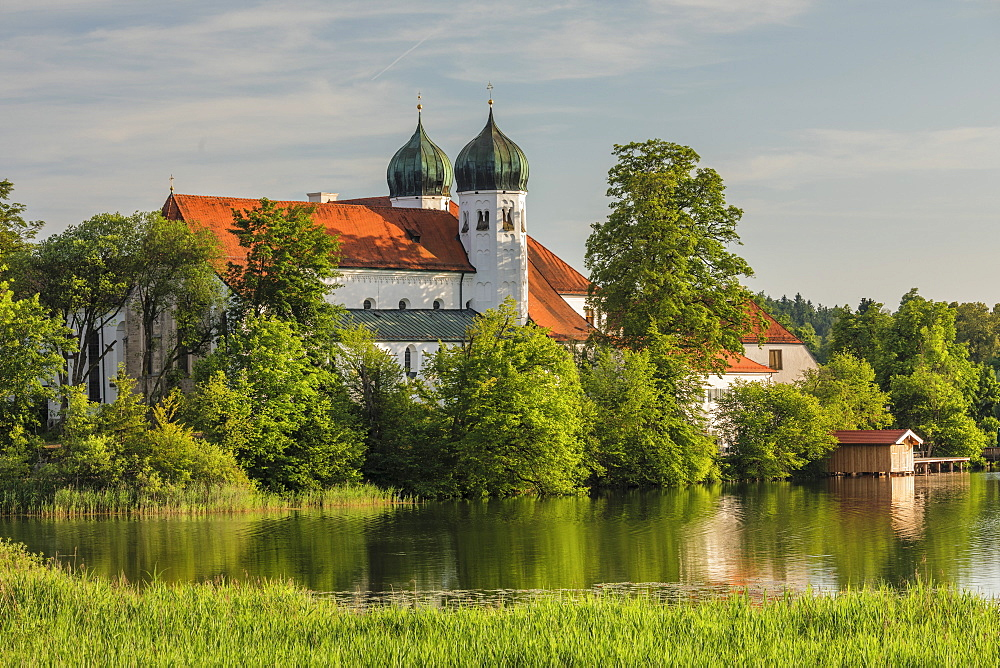 Seeon Abbey at Lake Seeoner See, Chiemgau, Chiemgau Alps, Upper Bavaria, Germany, Europe