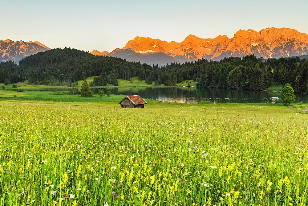 Geroldsee Lake against Karwendel Mountains at sunset, Klais, Werdenfelser Land, Upper Bavaria, Germany, Europe