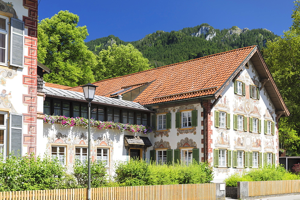 Traditional Paintings on Hansel und Gretel House, Oberammergau, Ammertal Valley, Bavarian Alps, Upper Bavaria, Germany, Europe