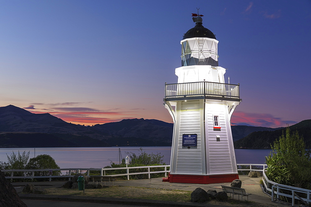 Lighthouse in the Bay of Akaroa, Banks Peninsula, Canterbury, South Island, New Zealand, Oceania