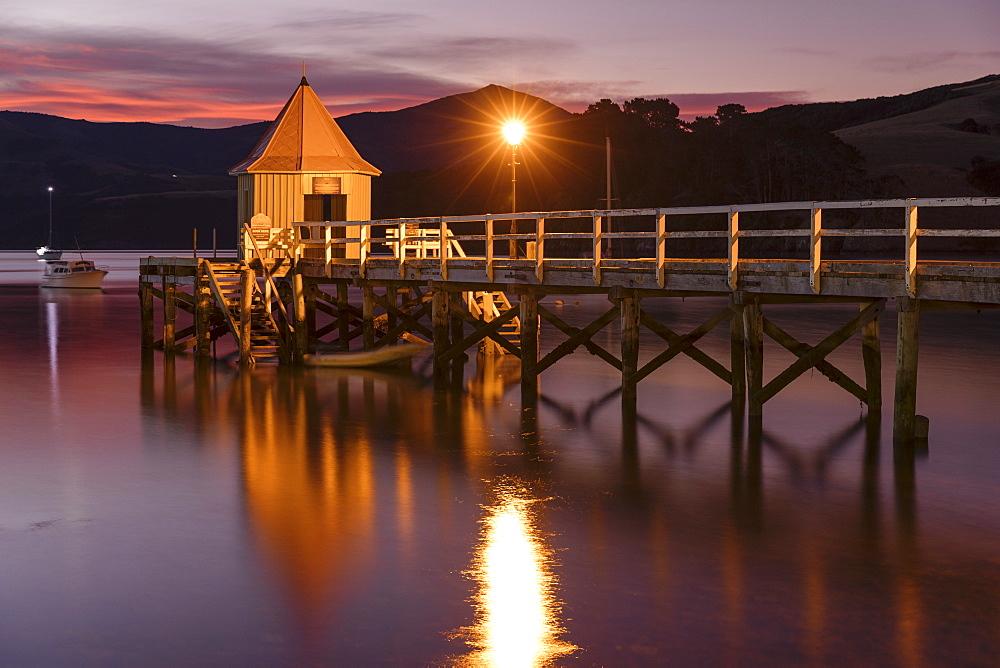 Daly's Wharf, historic jetty, Akaroa Harbour, Banks Peninsula, Canterbury, South Island, New Zealand, Oceania