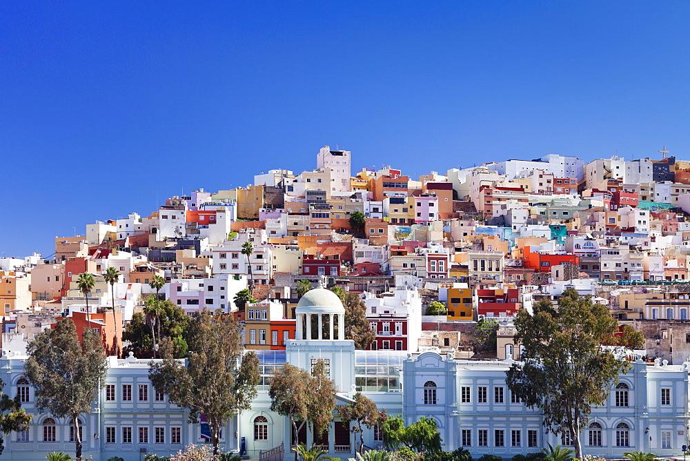 Coloured buildings in the district of San Juan, Las Palmas, Gran Canaria, Canary Islands, Spain, Europe